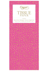 Caspari Little Dash Fuchsia/Gold Tissue Package - 4 Sheets