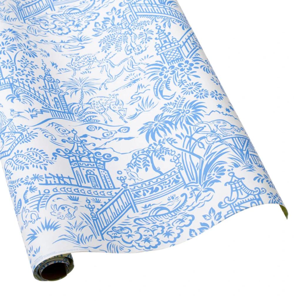 Caspari Pagoda Toile Blue/White Reversible Continuous Wrap Roll