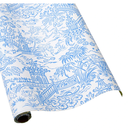 Caspari Pagoda Toile Blue/White Reversible Continuous Wrap Roll