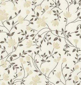Rossi Grey-Olive Flowers Letterpress Wrap - 2 Sheets