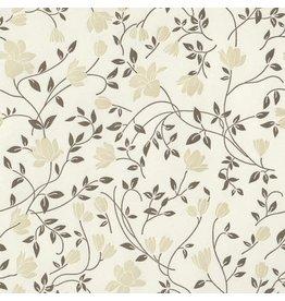 Rossi Grey-Olive Flowers Letterpress Wrap - 2 Sheets