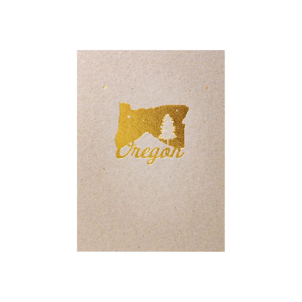 Lark Press Foiled Oregon - Letterpress Card