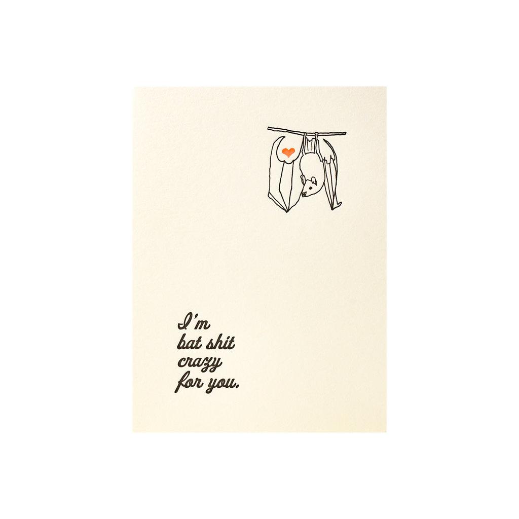 Lark Press Bat Shit Crazy - Letterpress Card