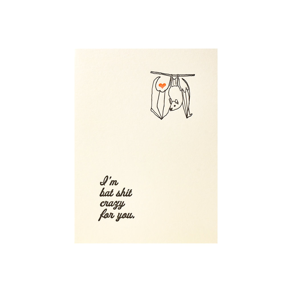 Lark Press Bat Shit Crazy Letterpress Card