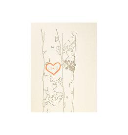 Lark Press Heart Carved Into Tree Letterpress Card