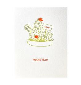 Lark Press Cactus Neon Thank You Letterpress Cards Box of 6