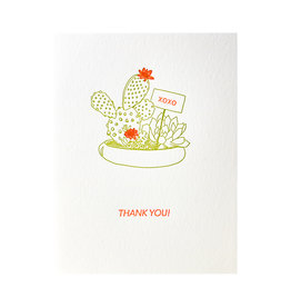 Lark Press Cactus Neon Thank You Letterpress Cards Box of 6