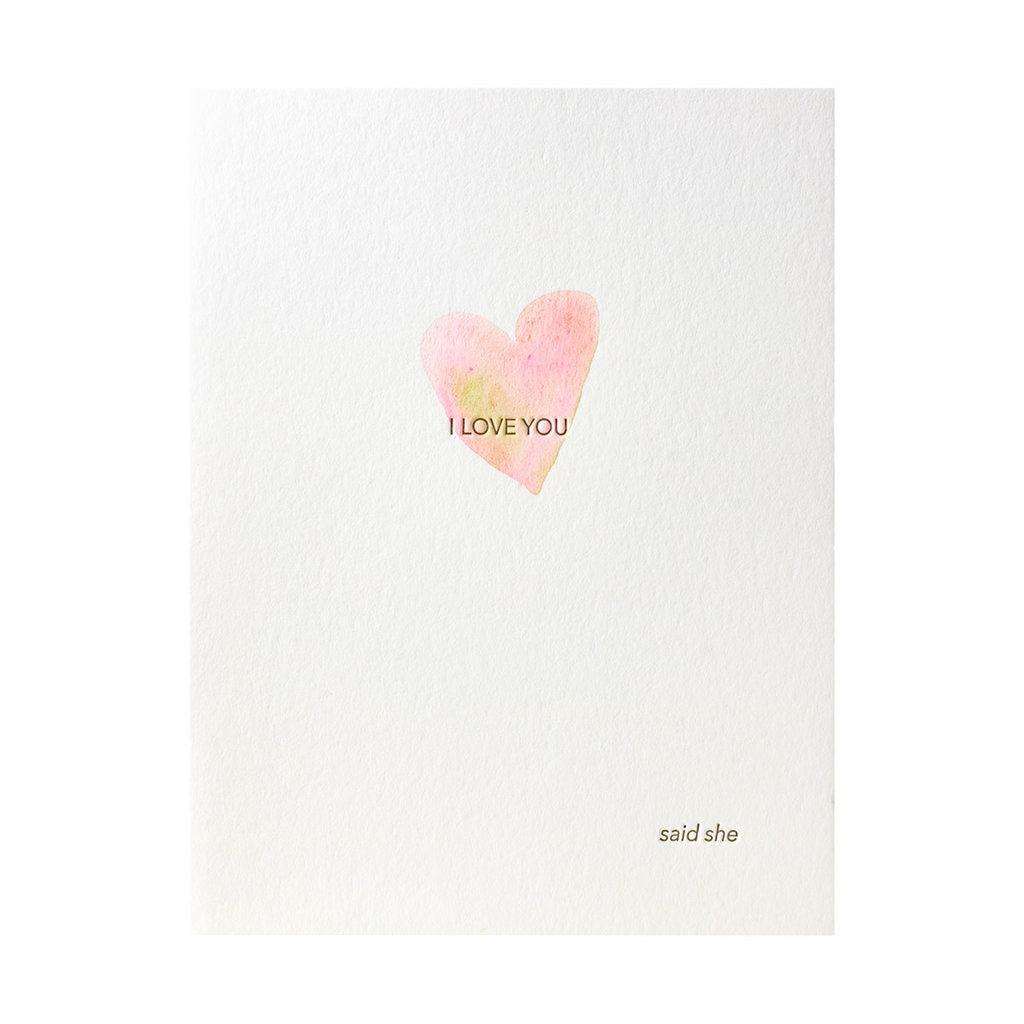 Lark Press Love Said She Watercolor Letterpress Card