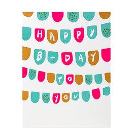 Hammerpress Happy Birthday Flags Letterpress Card