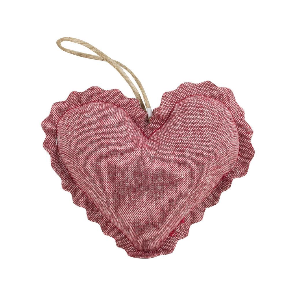 Linen Lavender Heart Sachet - Red Ticking