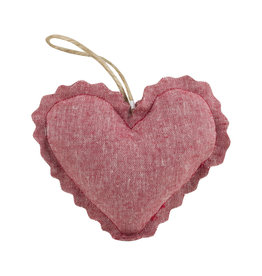 Linen Lavender Heart Sachet - Red Ticking