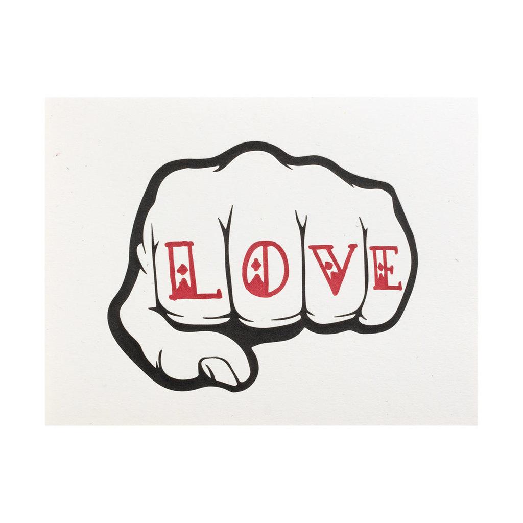 Lady Pilot Letterpress Love Fist Letterpress Card