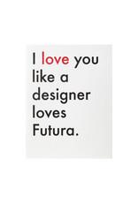 Lady Pilot Letterpress Futura Love Letterpress Card