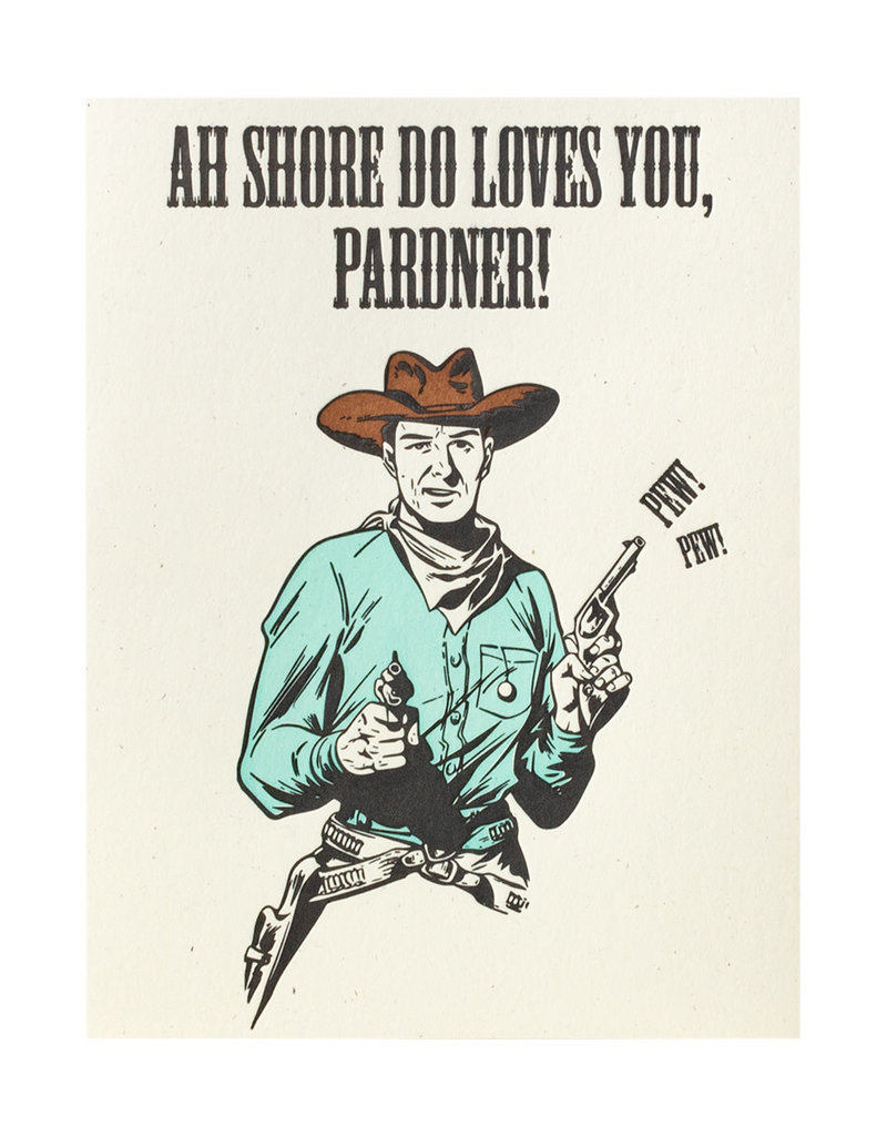 Lady Pilot Letterpress Love Pardner Letterpress Card