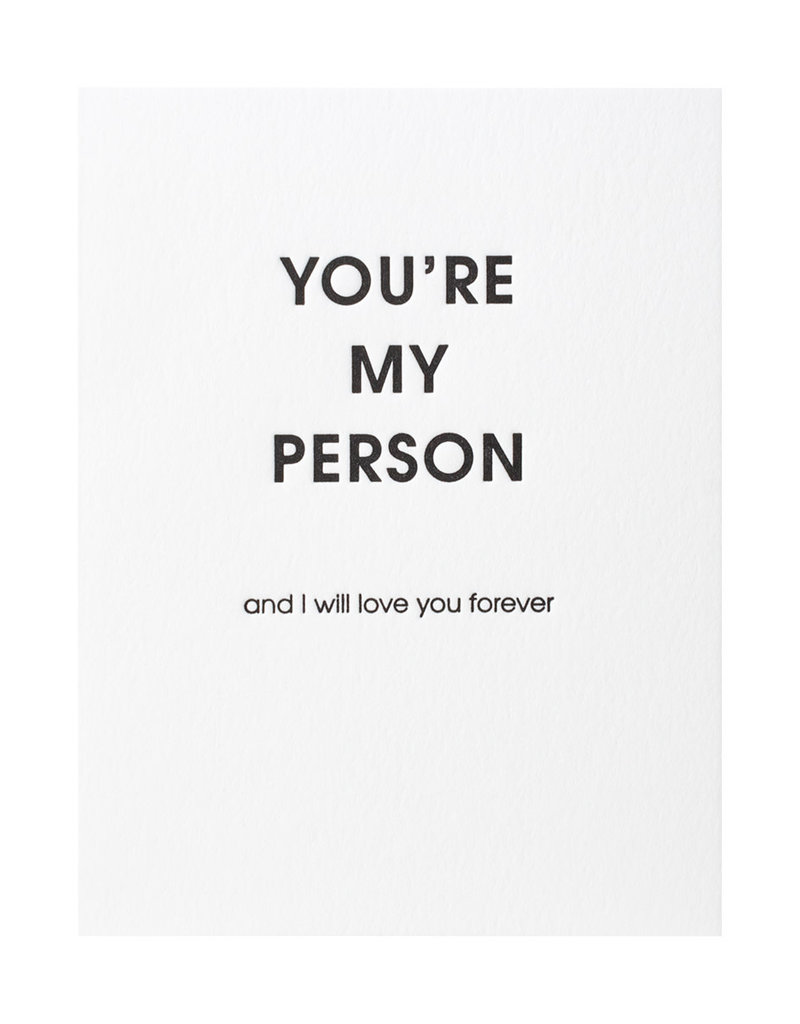 Chez Gagne You're My Person Letterpress Card