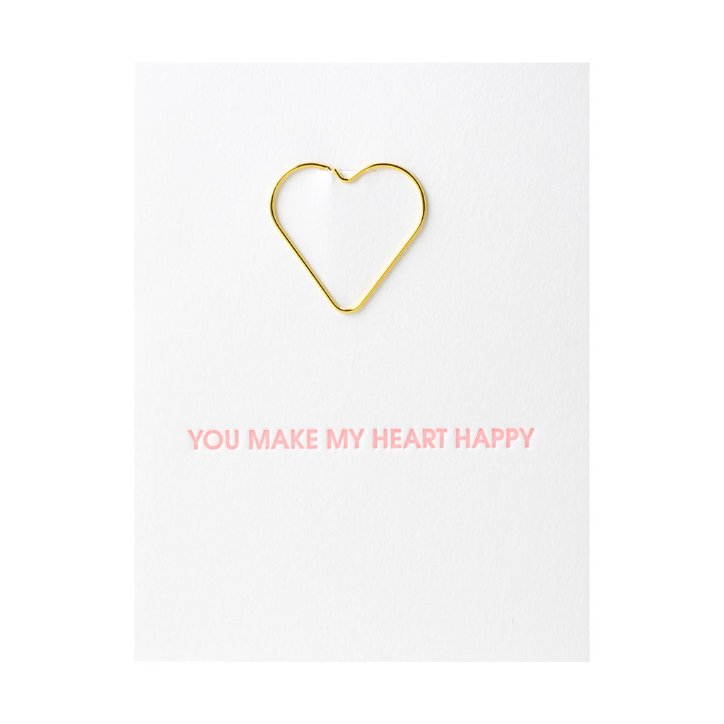 Chez Gagne You Make my Heart Happy Letterpress Card