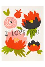 Fugu Fugu Press I Love You Peonies - Letterpress Card