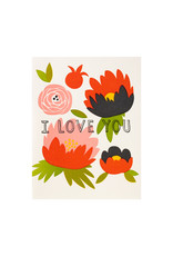 Fugu Fugu Press I Love You Peonies - Letterpress Card
