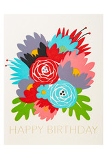 Fugu Fugu Press Bday Flowers - Letterpress Card