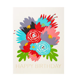 Fugu Fugu Press Bday Flowers - Letterpress Card