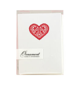 Ornament Letterpress Red Heart Lace Notecards - Box of 6