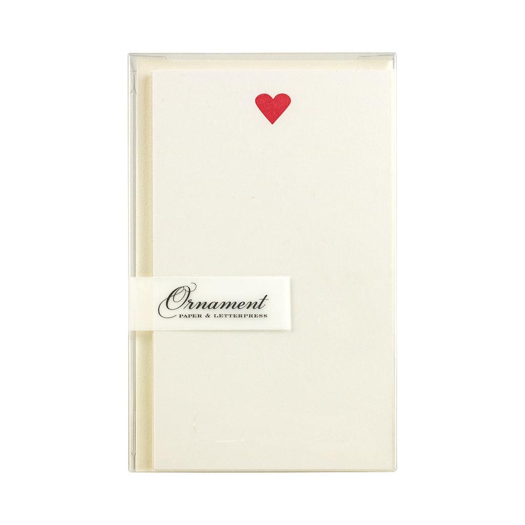 Ornament Letterpress Single Heart - Vertical Flat Letterpress Cards