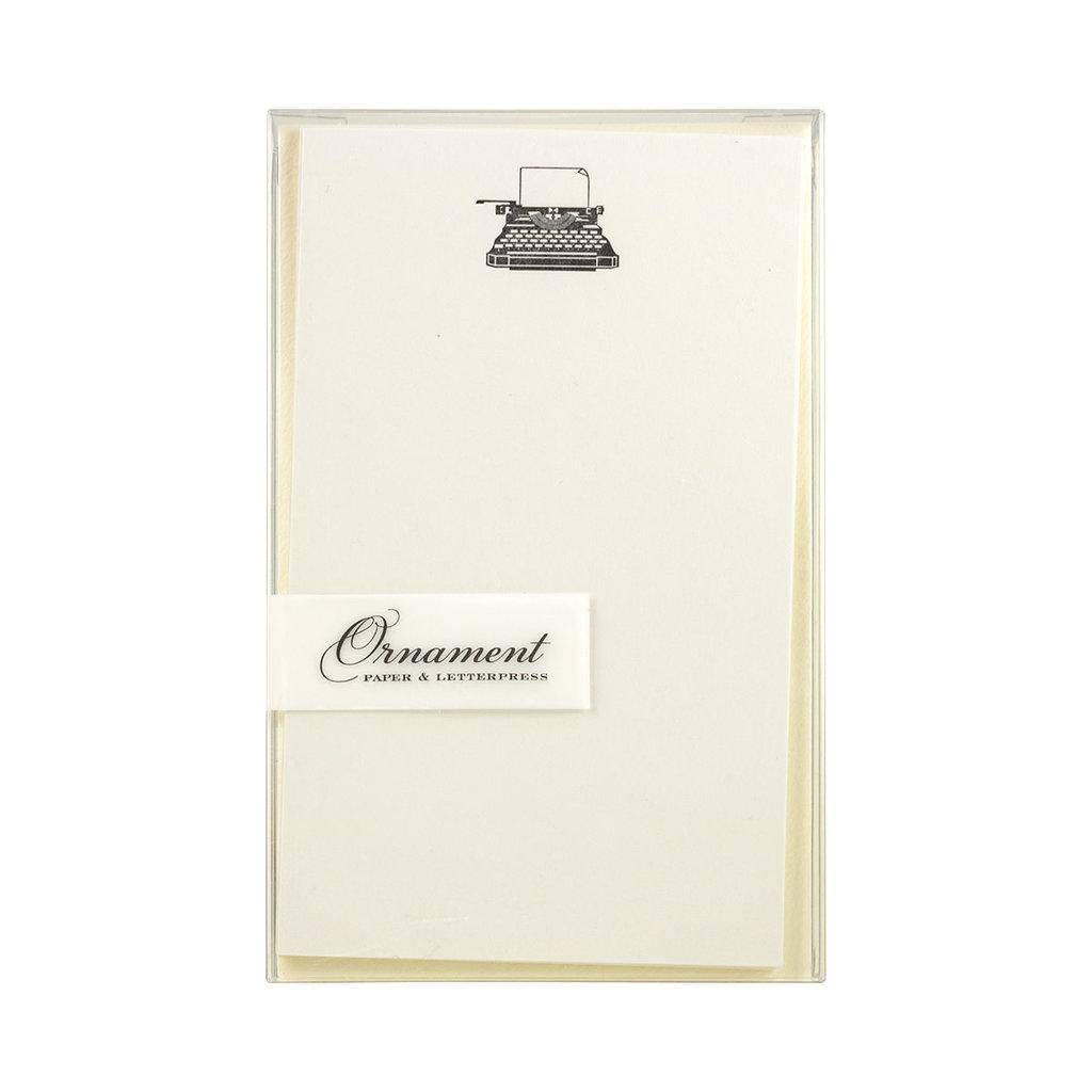 Ornament Letterpress Typewriter - Vertical Flat Letterpress Cards