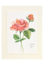 Grace Watercolors Orange Rose I Love You Card