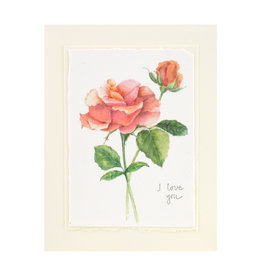 Grace Watercolors Orange Rose I Love You Card