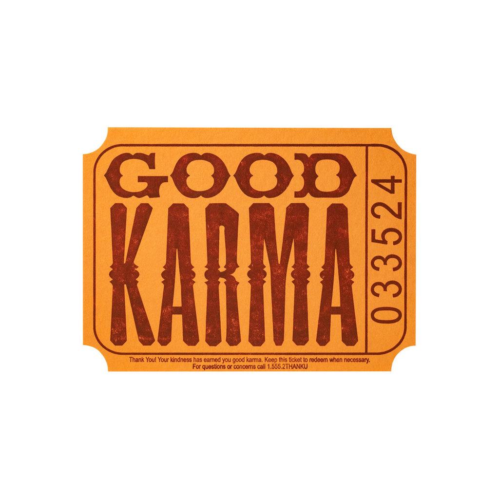 A Favorite Design Good Karma Ticket Letterpress Card - Box of 6
