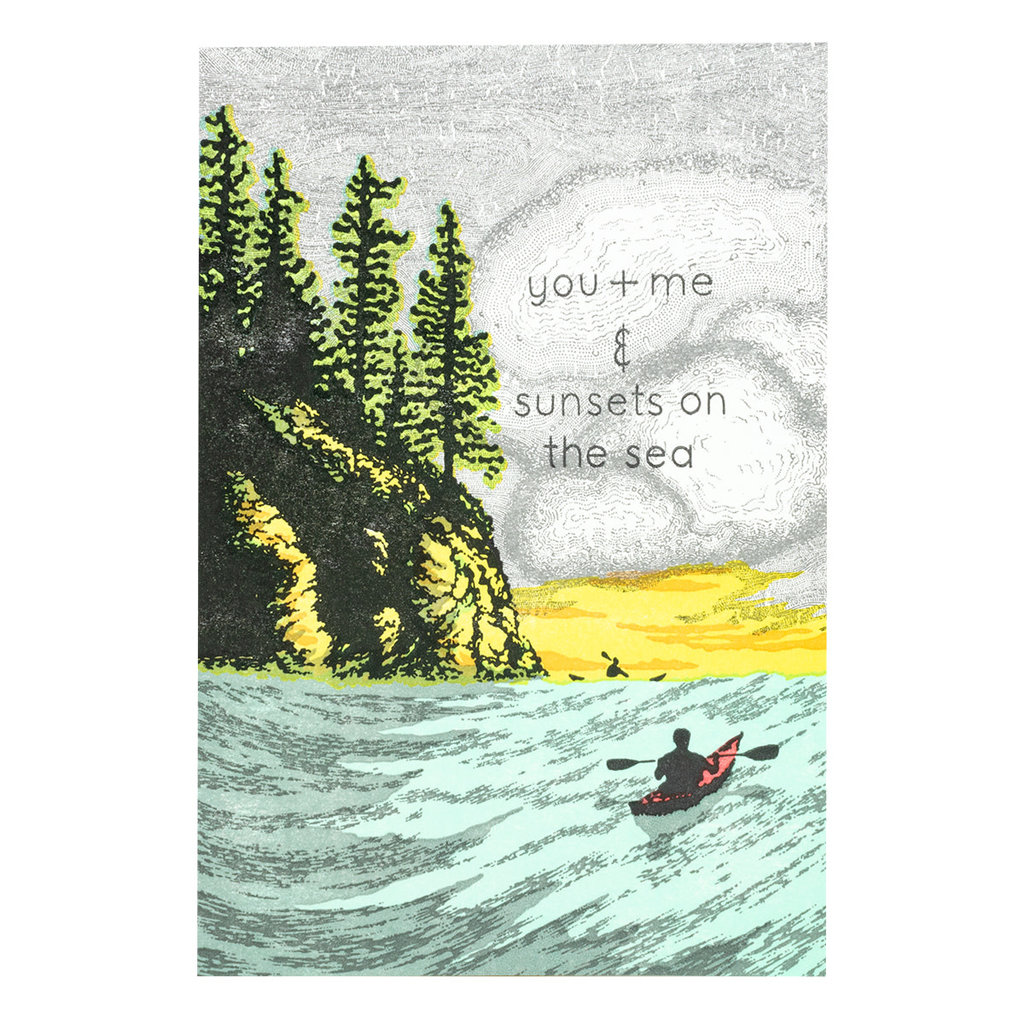 Old School Stationers You + Me Sunsets on Sea Letterpress Card