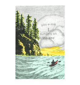 Old School Stationers You + Me Sunsets on Sea - Letterpress Card