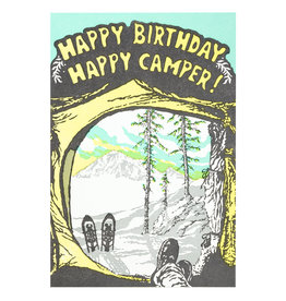 Old School Stationers Happy Birthday Happy Camper! - Letterpress Card