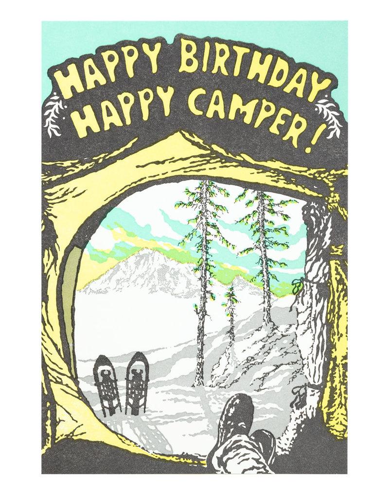 Old School Stationers Happy Birthday Happy Camper! - Letterpress Card