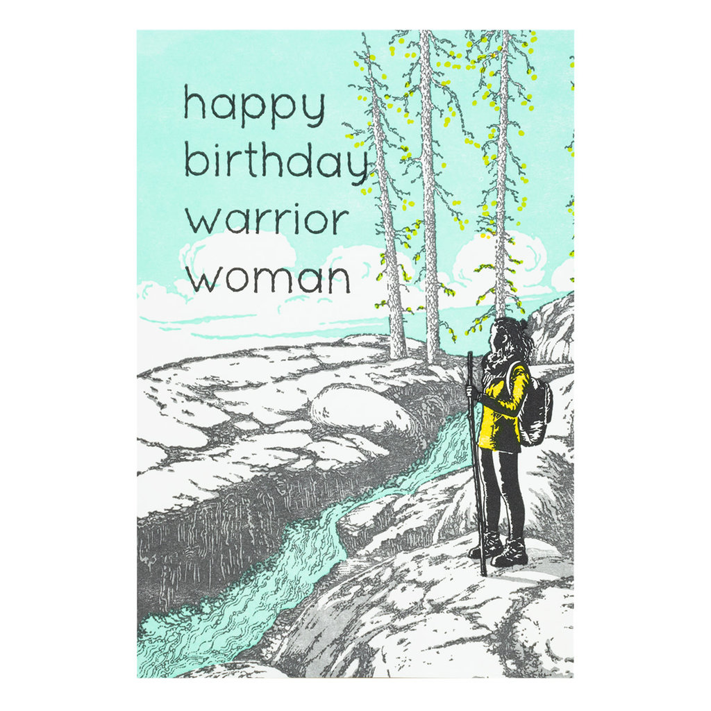 Old School Stationers Happy Birthday warrior woman - letterpress card