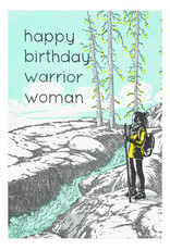 Old School Stationers Happy Birthday warrior woman - letterpress card