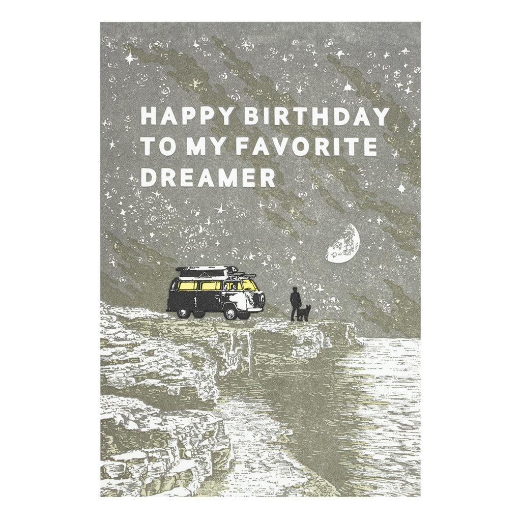 Old School Stationers Happy Birthday Favorite Dreamer - Letterpress Card