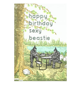 Old School Stationers Happy Birthday sexy beastie - letterpress card