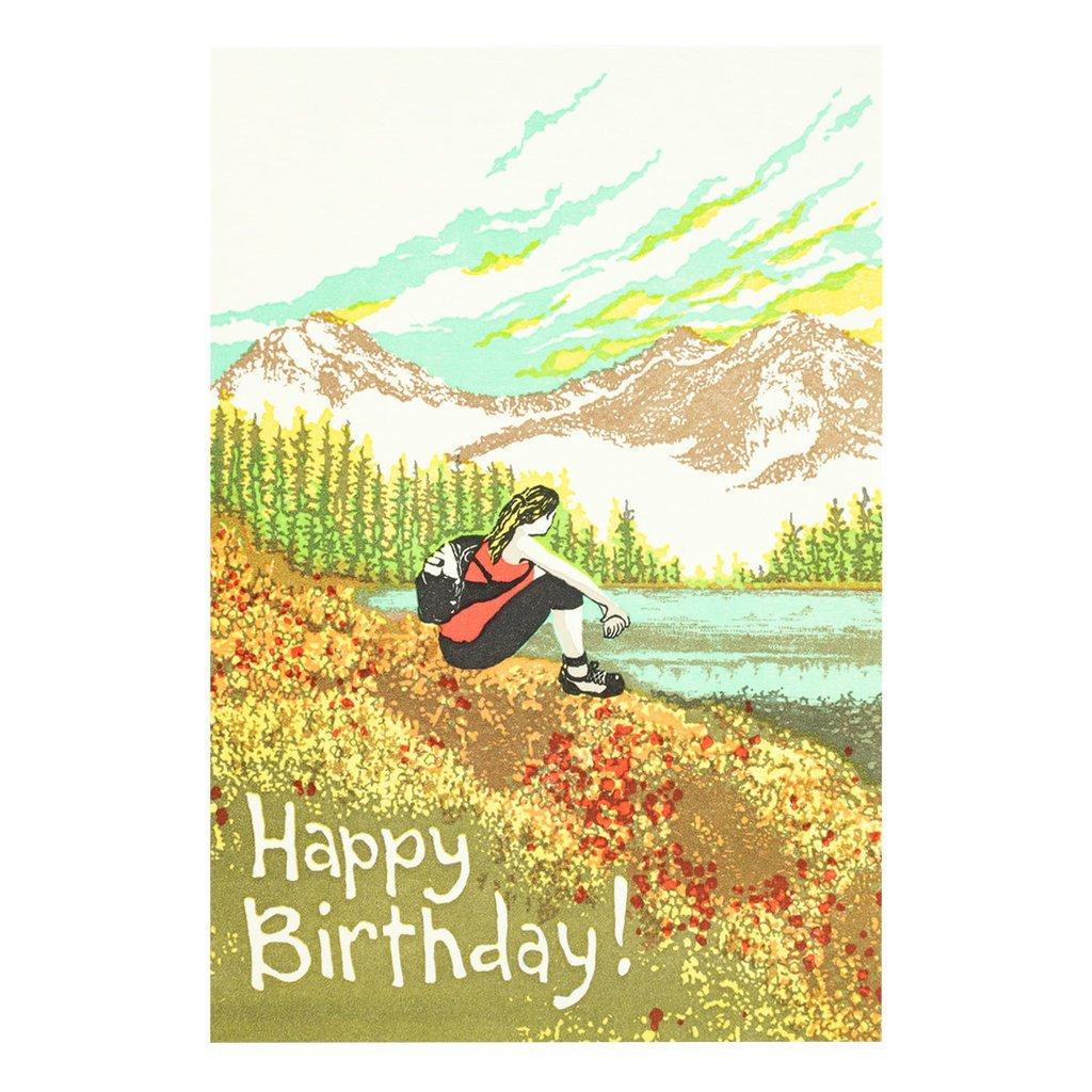 Old School Stationers Happy Birthday Hiker Girl - Letterpress Card