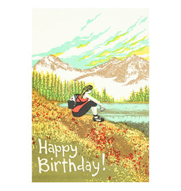 Old School Stationers Happy Birthday Hiker Girl - Letterpress Card