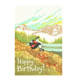 Old School Stationers Happy Birthday Hiker Girl Letterpress Card