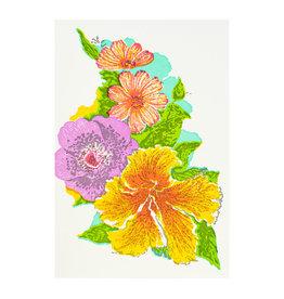 Old School Stationers Tropical Flowers Letterpress Card