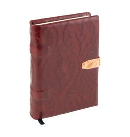 handmade dark red patterned leather book medium