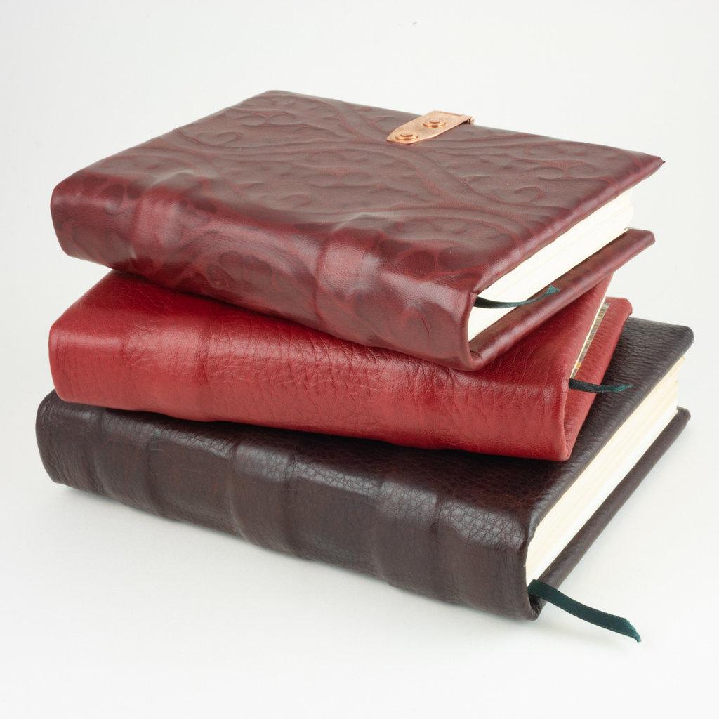 handmade dark red patterned leather book medium 6.75 x 4.5