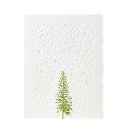 Green Bird Press Conifer Tree Letterpress Card