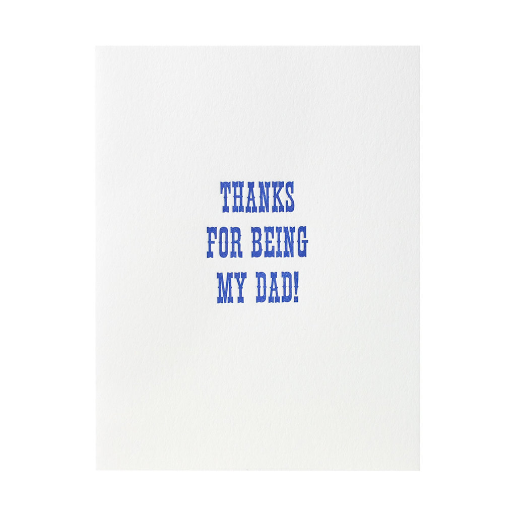 Green Bird Press Thanks For Being My Dad Letterpress Card
