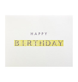 Green Bird Press Happy Birthday Letterpress Card