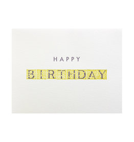 Green Bird Press Happy Birthday Letterpress Card