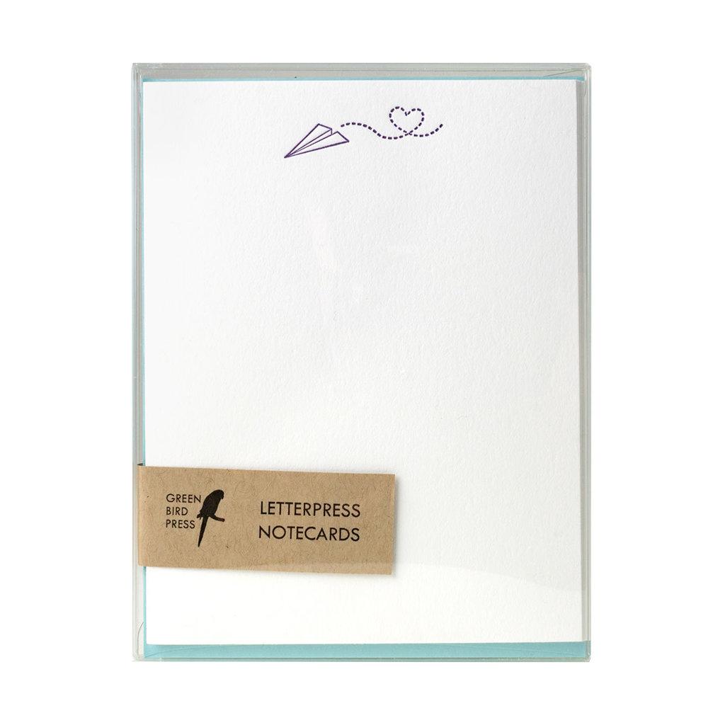 Green Bird Press Sending Love Paper Airplane Letterpress Notecards - Set of 6