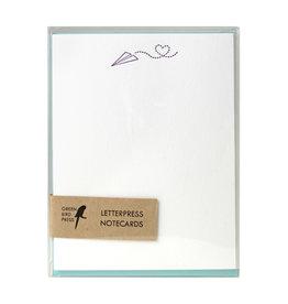 Green Bird Press Paper Airplane Letterpress Notecards - Set of 6